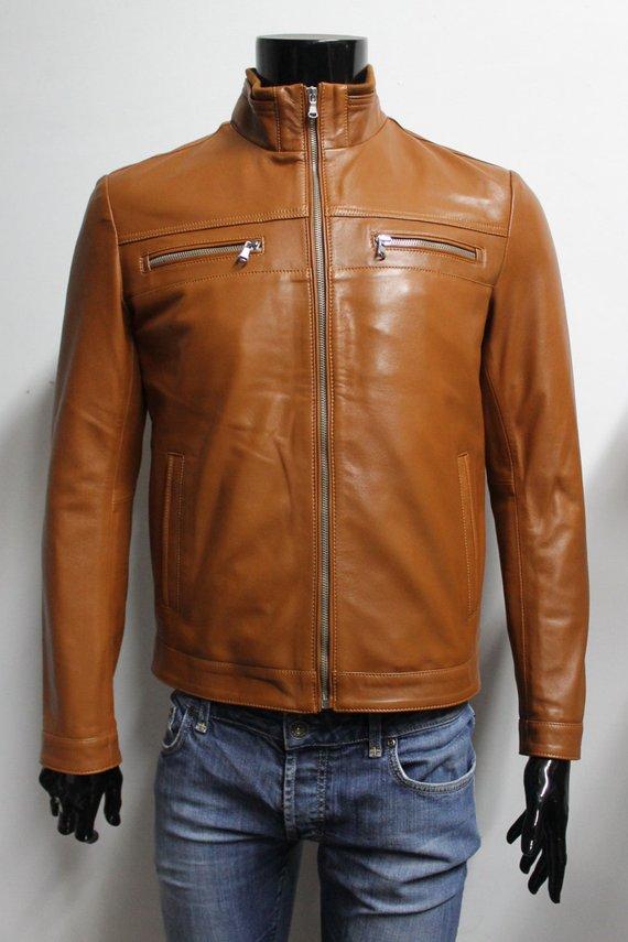 d7f77d45c Men soft genuine lambskin leather jacket color tan