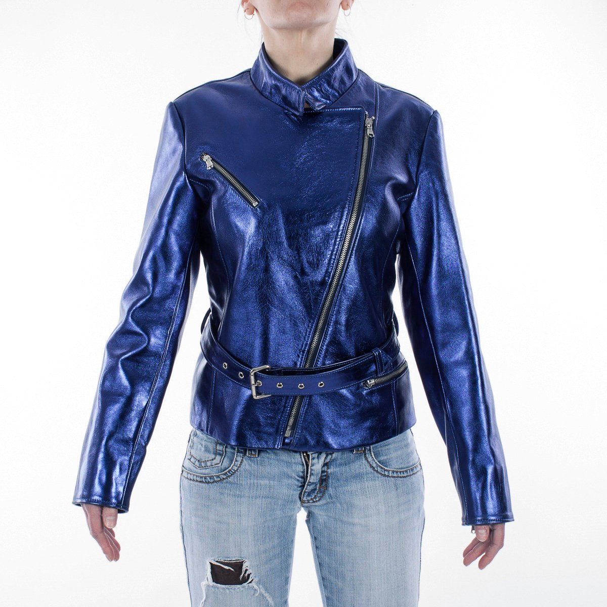 292c05612 Metallic Blue Women genuine lambskin leather biker jacket - Jackets ...