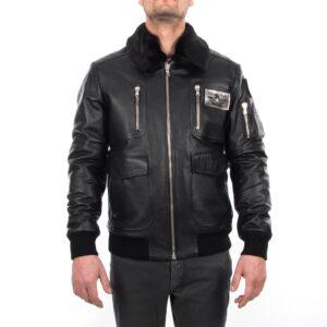 Grainy Black Men Waterproof ARMY Bomber Leather Jacket