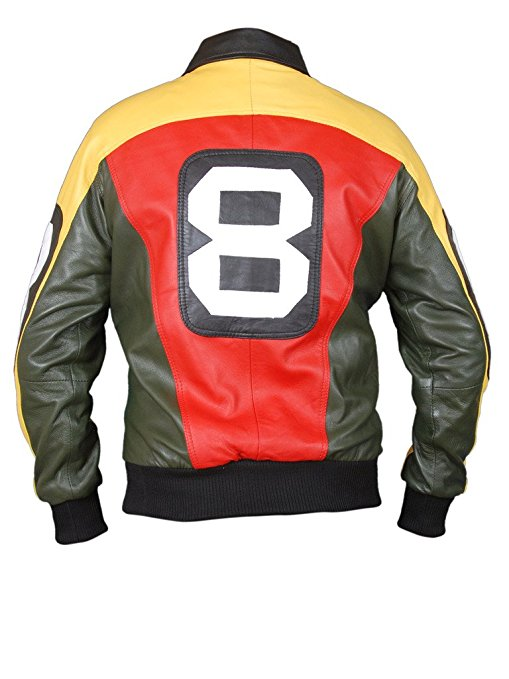 Men's 8 Ball Multi colored Bomber Leather Jacket
