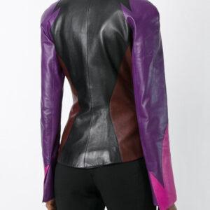 Color Block Vintage Flame Leather Jacket