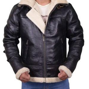 Men's Black B3 Bomber Aviator Shearling Leather Jacket