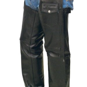 Premium Black Zip Out Lining Leather Chaps