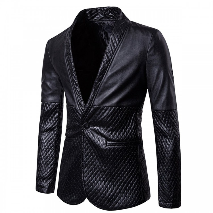 e39b0d9b96b Mens Casual Slim Fit Black Leather Blazer Jacket - Jackets Maker