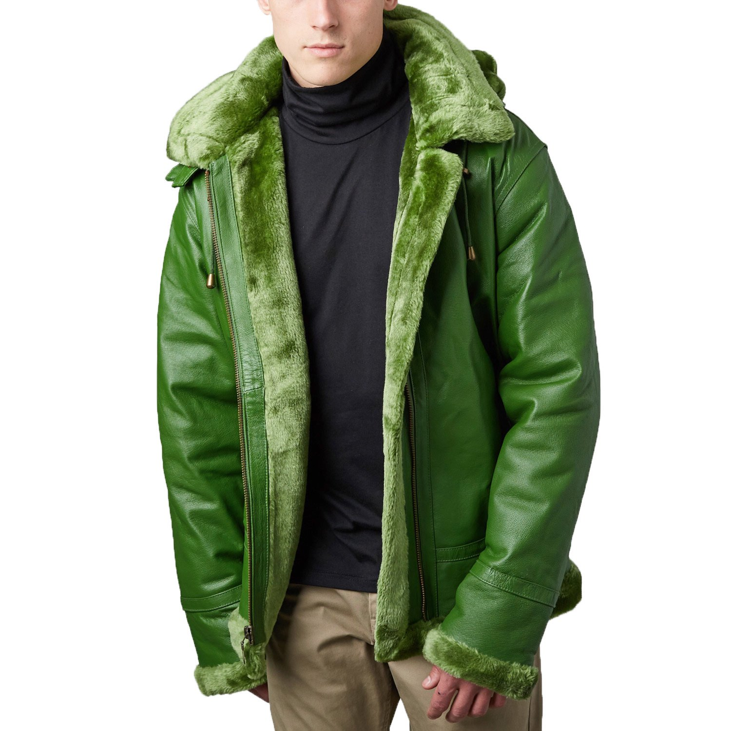 Tanners Avenue Men S Green Leather Shearling Bomber Jacket With