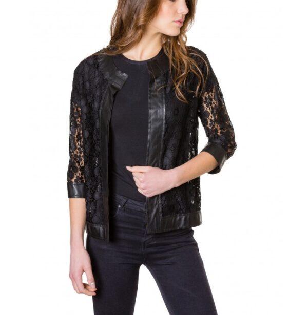Black Colour Woman Lace Jacket With Leather Edges