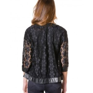 Black Colour Woman Lace Jacket With Leather Edges