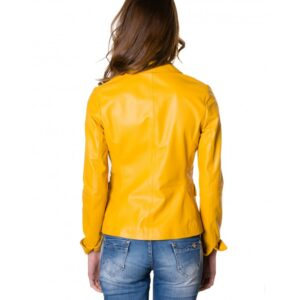Blazer Yellow Leather Two Buttons Jacket Smooth Effect