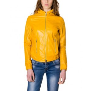 Street 27 Yellow Nappa Lamb Leather Hooded Jacket
