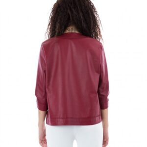 EMMA Red Color Nappa Lamb Leather Jacket Smooth Effect
