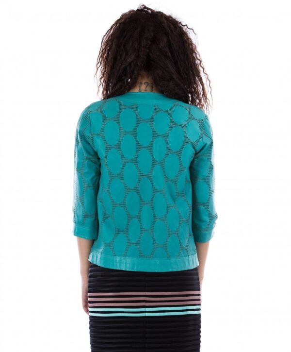 Green Nappa Lamb Perforated Leather Smooth Effect Jacket