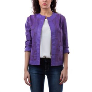 Violet Nappa Lamb Perforated Smooth Effect Leather Jacket