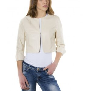 Beige Color Lamb Leather Round Neck Short Jacket