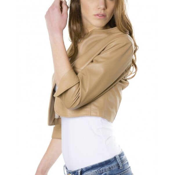 Brown Color Lamb Leather Round Neck Short Jacket