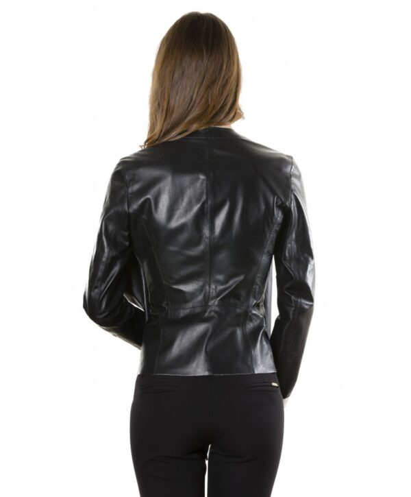 Black Colour Nappa Lamb Leather Jacket Smooth Effect