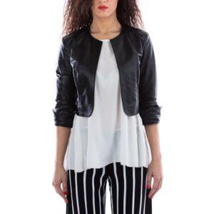 Black Color Leather Short Jacket Smooth Effect