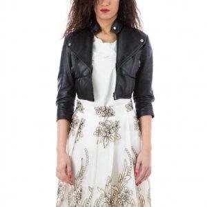 Samantha Black Smooth Effect Leather Short Jacket