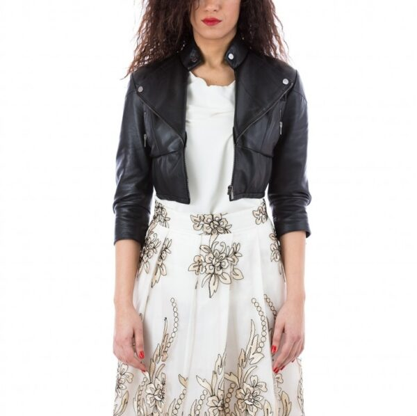Samantha Black Smooth Effect Leather Short Jacket
