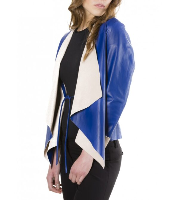Monic Blue Colour Nappa Lamb Leather Jacket Smooth Effect