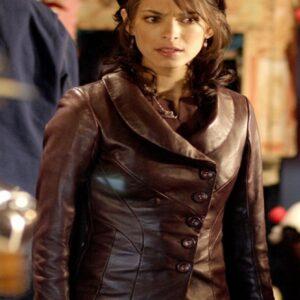 Kristin Kreuk Smallville Brown Leather Jacket