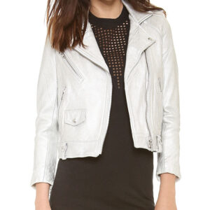Thea's Silver Moto Leather Jacket