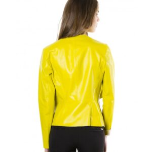 Monic Yellow Nappa Lamb Smooth Effect Leather Jacket