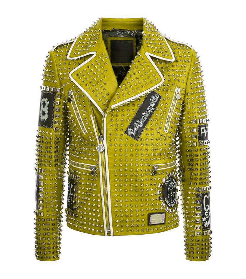Men Yellow PHILIPP PLEIN Leather Coat Full Studded Embroidery Patches  Jacket PP