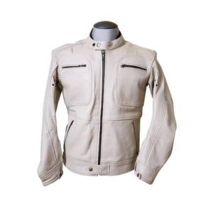 Beige Biker Leather Fashion Jacket