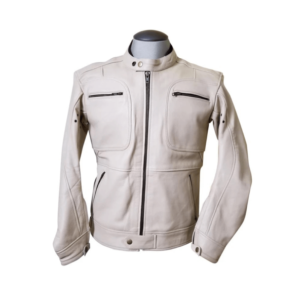 Beige Biker Leather Fashion Jacket