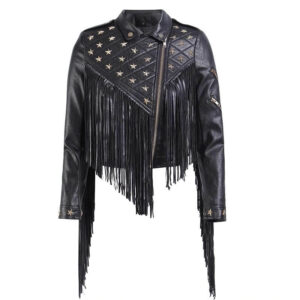 Black Biker Fringe Star Studded Leather Jacket