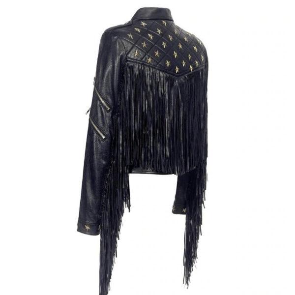 Black Biker Fringe Star Studded Leather Jacket