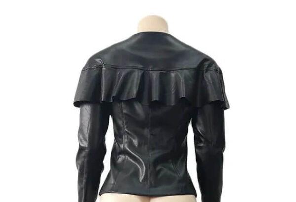 Black Ruffles O-Neck Leather Jacket
