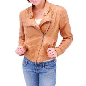 Tan Asymmetrical Biker Leather Jacket