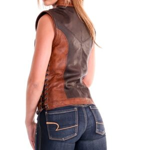 Brown Artemis Centered Closure Leather Vest