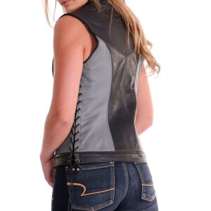 Black Athena Centered Closure Leather Vest