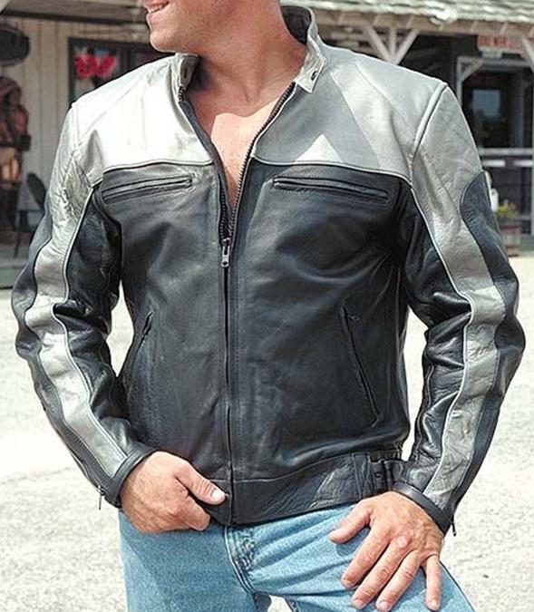 Men's Gray and Black Biker Leather Jacket