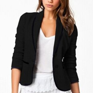 Turn Down Collar Slim Black Short Jacket