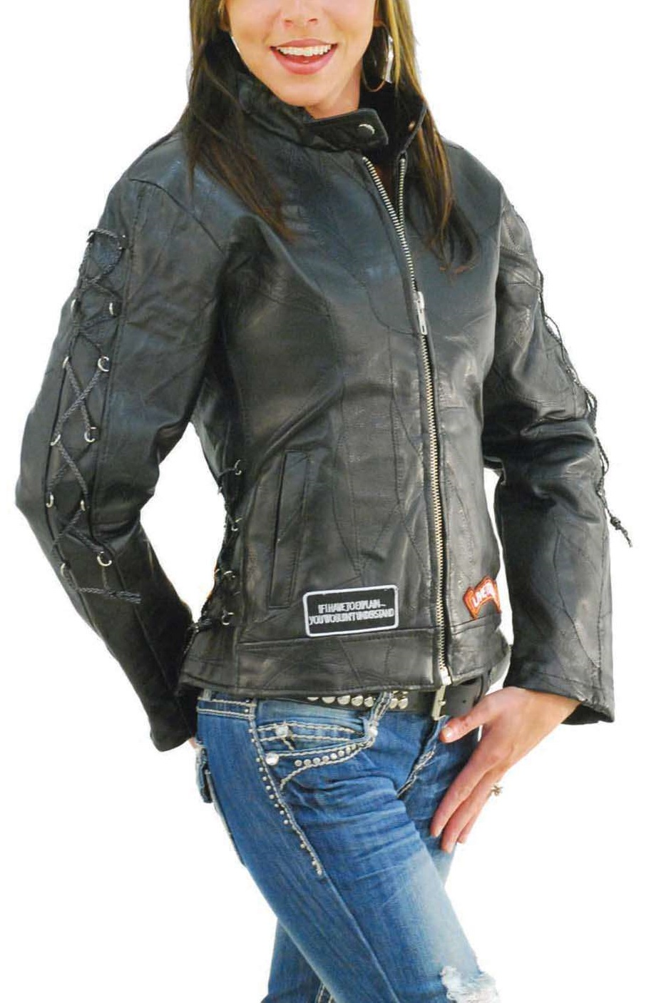 Women's Motorcycle Jacket With Patches - Jackets Maker