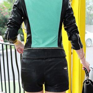 Green Women's Biker Leather Jacket
