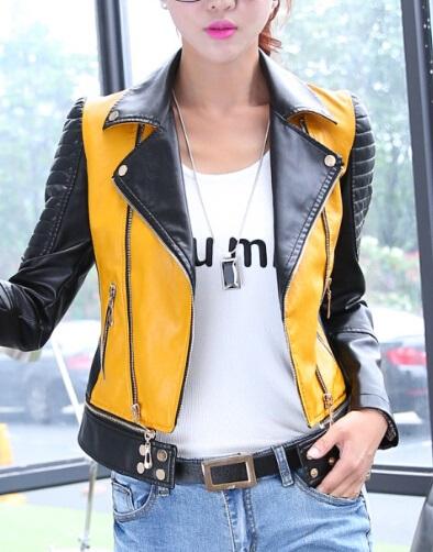Yellow Women's Biker Leather Jacket