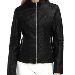 Black Womens Short Leather Jacket