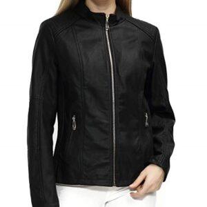 Womens Black Zipper Short Leather Jacket