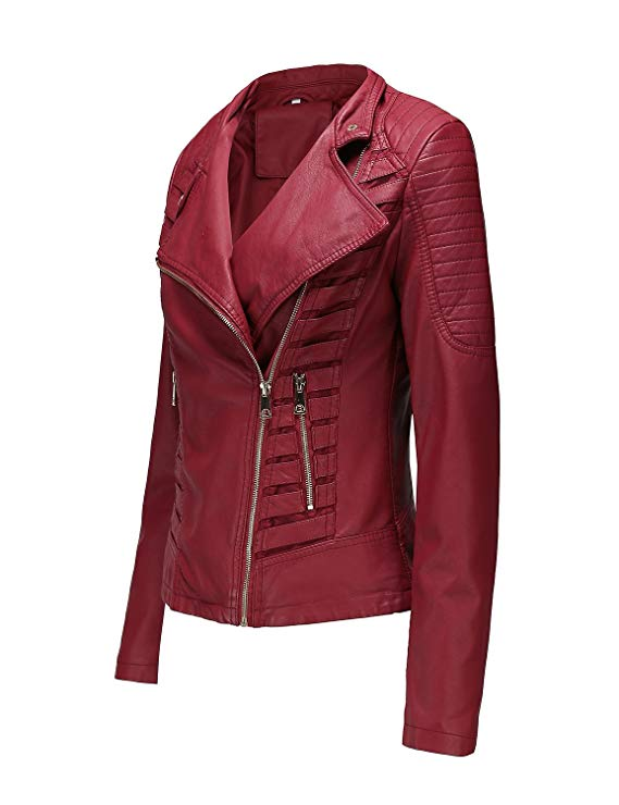 Womens Red Leather Short Jacket