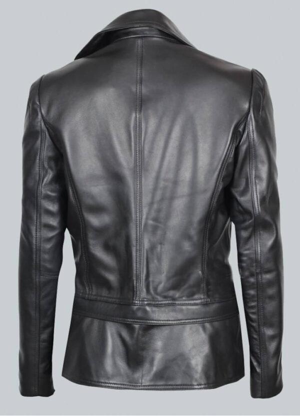Alabama Black Leather Biker Jacket