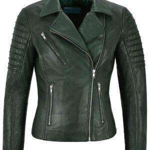 Army Green Women's Stylish Biker Leather Jacket