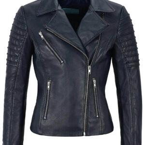 Black Women's Stylish Biker Leather Jacket