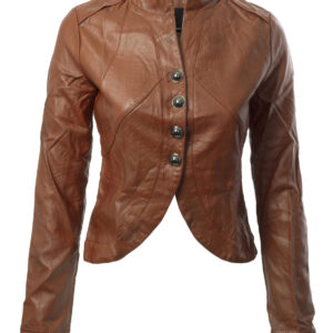 Brown Biker Cropped Leather Jacket