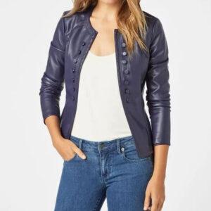 Button Detail Blue Leather Fashion Jacket