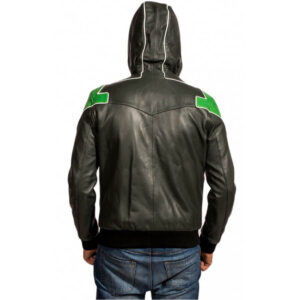 Green Lantern Hooded Leather Jacket