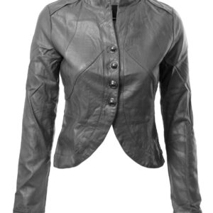 Grey Biker Cropped Leather Jacket